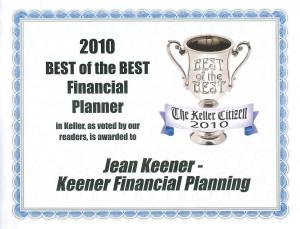Keller TX Best Financial Planner Award 2010