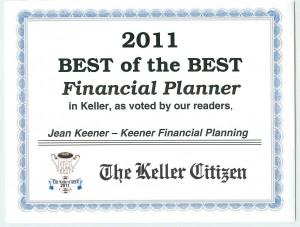 Best Financial Planner Keller TX 2011