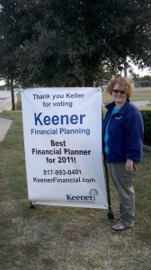 Keller Best Financial Planner Thank You Sign Posted outside office